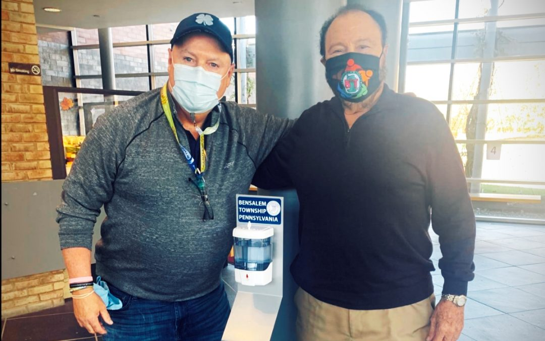 Pakit donates hand sanitizing stations to the Mayor and Bensalem